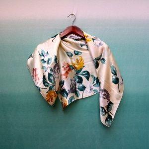 Talbots 100% Silk Floral Scarf